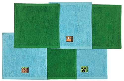 Jay Franco Minecraft Overworld Adventure 6 Piece Cotton Washcloth Set - Featuring Creeper, 12' Inches x 12' Inches