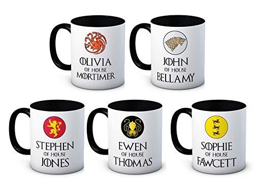 Dein Name - Jeder Name - Game of Thrones - Name des Hauses - Hochwertige Keramik Kaffeetasse Becher