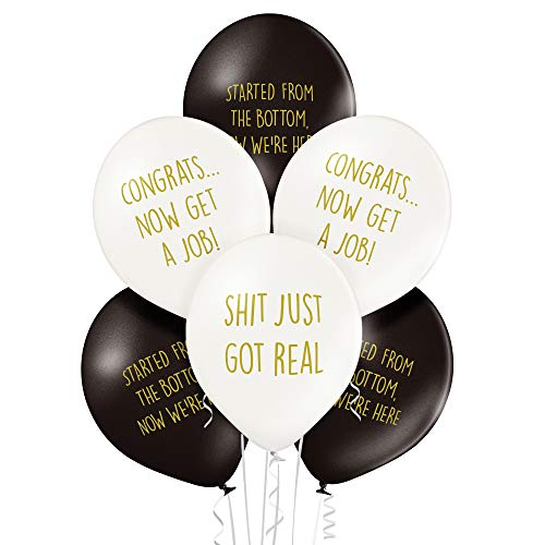 Rude Graduation Balloons - Pack of 12 Premium White and Black Funny Balloons - Class of 2020
