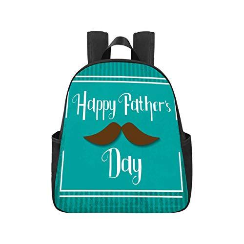 INTERESTPRINT Happy Fathers Day Celebration, Best Dad Day Vintage Backpack Travel Shoulder Bag Student Book Bag Back to School