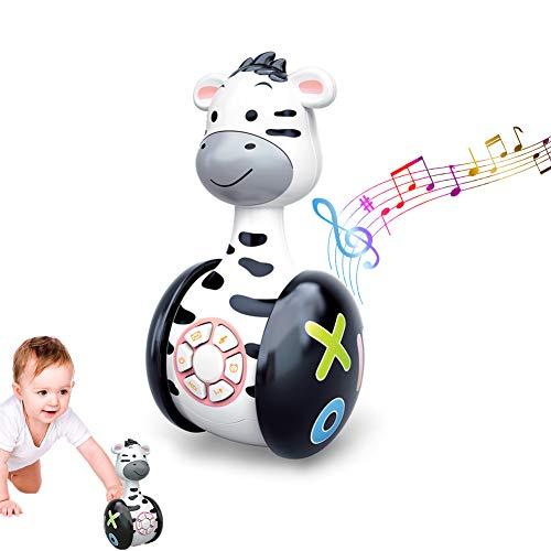 GoHist Baby Spielzeug Tumbler Musikspielzeug, Stehaufmännchen mit LED-Leuchten, Babyspielzeug ab 6 Monate Plus, Interaktives Musikspielzeug Baby Spielzeug Cartoon Zebra Tumbler für Kleinkinder Kinder