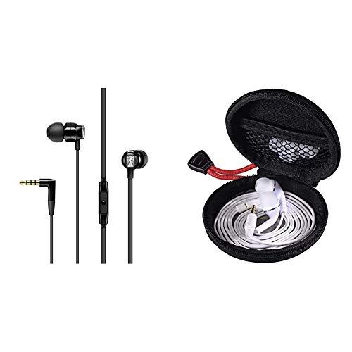 Sennheiser CX 300S In-Ear-Kopfhörer mit Universal Smart Remote, schwarz & Hama Kopfhörer Tasche für In Ear Headset (Robustes Hardcase zur In Ears Aufbewahrung) schwarz