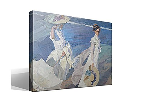 Canvas lienzo bastidor Paseo a la Orilla del Mar de Joaquín Sorolla y Bastida - 70cm x 95cm - Bastidor: 3cm - Impresión sobre Lienzo de Algodón 100% - Bastidor de madera 3x3cm - Fabricado en España