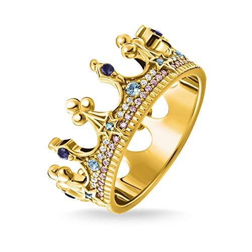 THOMAS SABO Damen Ring Krone Gold 925er Sterlingsilber; 750er Gelbgold Vergoldung TR2224-959-7