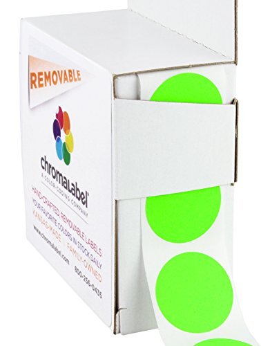 ChromaLabel 1 Inch Round Removable Color-Code Dot Stickers, 1000 per Dispenser Box, Fluorescent Green