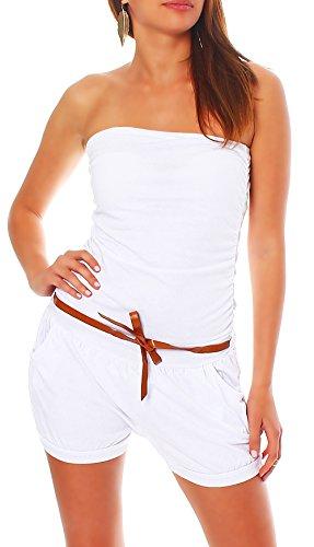 Malito Damen Einteiler kurz in Unifarben | Overall mit Gürtel | schicker Jumpsuit | Romper - Playsuit - Hosenanzug 8964 (weiß)