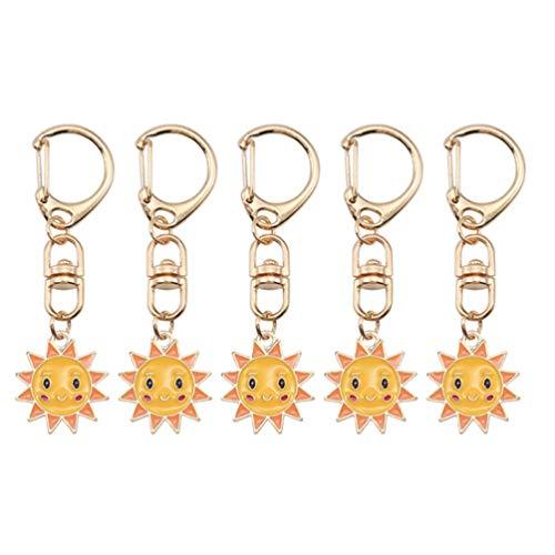PRETYZOOM 5 Stück Sonne Schlüsselanhänger Legierung Schlüsselanhänger Schlüsselringe Schlüsselhalter Partybevorzugung Geschenk Charme Schlüsselanhänger für Geldbörse Auto Handtasche Rucksack