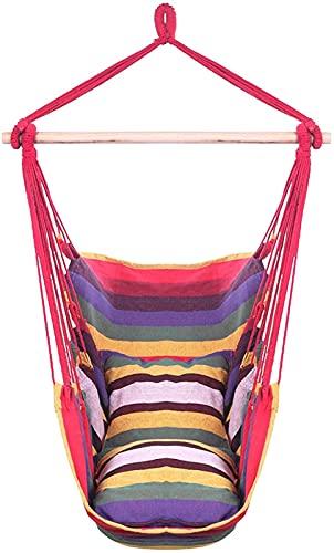 Hamaca de cuerda portátil para colgar 250 libras con 2 cojines de asiento y soporte, para interiores, exteriores, jardín, patio, árbol, camping, dormitorio, niños, adultos, bebés