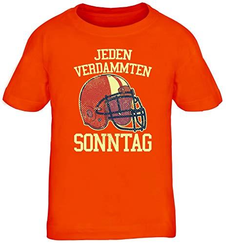 American Football Gruppen Fan Kinder T-Shirt Rundhals Mädchen Jungen Jeden verdammten Sonntag 2, Größe: 110/116,orange