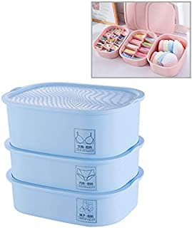 New Home Storage 3 PCS/Set Plastic Underwear Socks Storage Box Home Organizer for Small Clothing (Pink) Used for Home (Color : Blue)