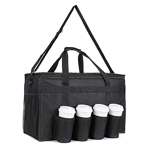 Large Insulated Food Delivery Bag with Cup Holders, Foldable Heavy Duty Food Warmer Grocery Bag for Camping Catering Restaurants UberEats Doordash Grubhub Postmates
