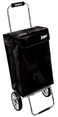 james® Einkaufstrolley Design BLACKY Deluxe, moderner Einkaufswagen, bunter Lifestyle Trolly, Rollkoffer, 40kg Tragkraft, klappbar, Made in EU!