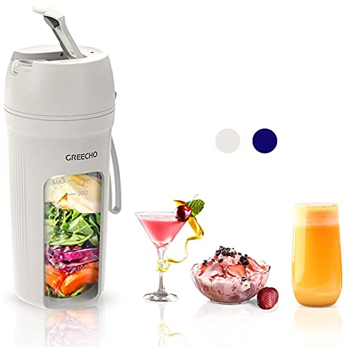 GREECHO Portable Blender, One-handed Drinking Mini Blender for Shakes and Smoothies, 12 oz Personal...