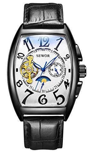 SEWOR Luxury Tourbillon Herren Mondphase automatische mechanische Armbanduhr Lederband Glasbeschichtung blau (Schwarz-Weiss)