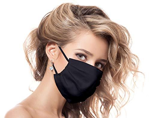 Urhome Behelf Mundschutz Maske aus 100% Baumwolle Made in Europa, Kälteschutz Gesichtsmaske, Staubdichte Maske I Gesichtsbedeckung Schwarz
