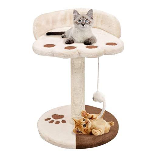 Tidyard Árboles de Actividades para Gatos Rascador para Gatos con Poste de sisal Beige y marrón 30 x 30 x 40 cm