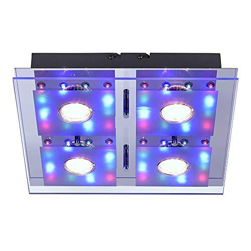 LeuchtenDirekt, LED Deckenleuchte, 30x30, 4-flammig, Deckenlampe, steuerbar mit Fernbedienung, Partybeleuchtung, RGB-Farbwechsel, warmweiss, quadratisch, Silber