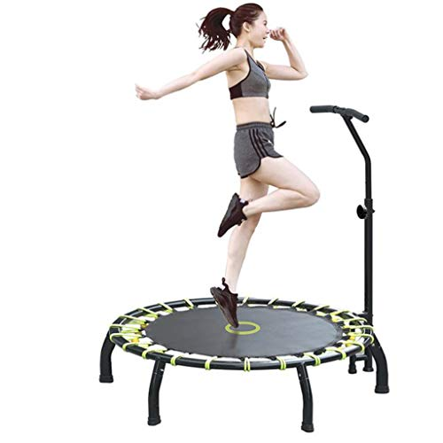 45 Inch Mini Trampoline, Rebounder with Adjustable Foam Handle Fitness Trampoline for Kids Adults