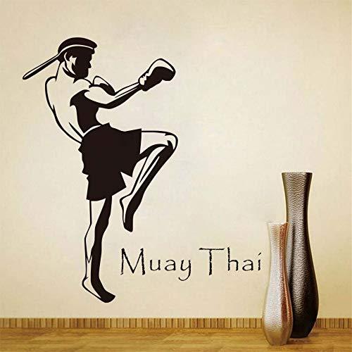 HNXDP Muay Thai Player Wandaufkleber Steuern Dekor Wohnzimmer Abnehmbare Wandtattoos Vinyl Aufkleber Fenster Wand Poster Schwarz 58X99 CM