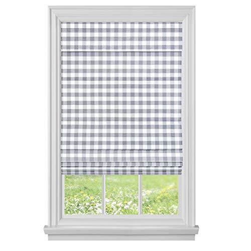 "Achim Home Furnishings, Grey Cordless Buffalo Check Roman Window Shade, 33"" x 64"""