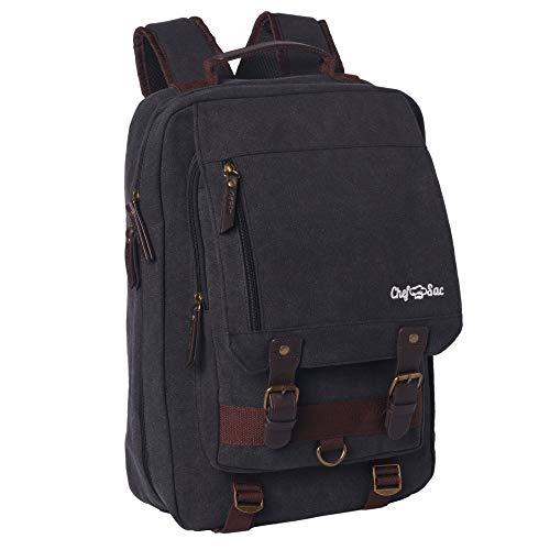 Retro-Rucksack mit Chefmesser-Motiv, hochwertige Leinentasche, 25 + Fächer für Messer und Küchenutensilien, 2 Taschen für Tablet und Menü (schwarz)