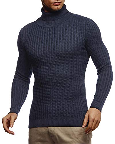 Leif Nelson Herren Strickpullover Warmer Pullover mit Rollkragen Rollkragenpullover für Männer Pulli für Winter Rolli LN2115 XXL Blau