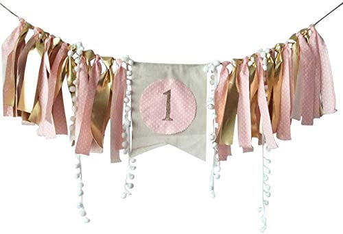 Baby 1st Birthday Decoration Banner for Girls Boys High Chair Flag Banner Bunting Birthday Party Decorations Supplies(Golden/Pink)