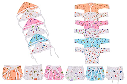 Toddylon New Born Baby Clothing Combo of 6 Full Sleeve Jhabla 6 Cloth Diapers Nappy & 6 Cap (Multicolour 0-6 Months)