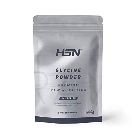 Glicina en Polvo de HSN | Síntesis de Colágeno, Precursor de Creatina | Favorece el Crecimiento Muscular y la Salud Articular | Vegano, Sin Gluten, Sin Lactosa, 500 gr