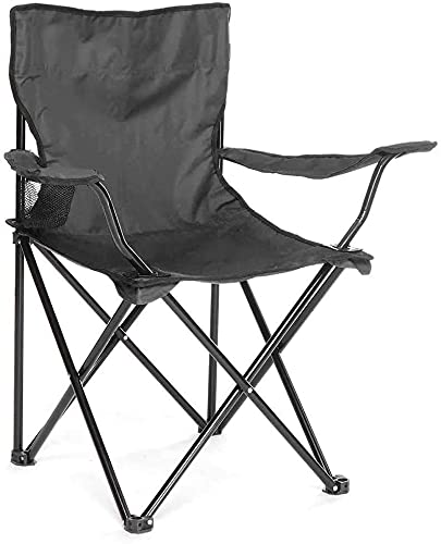 GREATS Silla Camping 50X50X80cm, Silla de Acampada Plegable Silla Jardin (1 Unidad, Negro)