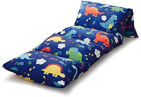 Wake In Cloud Kids Floor Pillow Case Dinosaur on Navy Blue 100 Cotton Lounger Toddler Floor product image