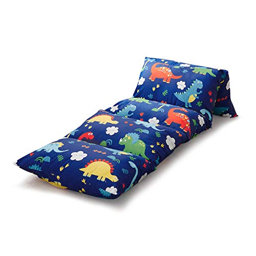king pillow for kids Wake In Cloud - Kids Floor Pillow Case, Dinosaur on Navy Blue, 100% Cotton Lounger Toddler Floor Pillow Cover, Requires 5 Standard Size Pillows (Pillows Not Included)