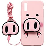 Galaxy A50 Case Pink Pig 3 in 1 TPU Case with Pop Out Phone Stand Grip Holder and Detachable Long Lanyard Neck Strap Band Soft Lovely Case for Children Kids Girls, A50
