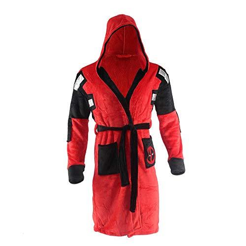 Lydia's Anime Erwachsene Bademantel Deadpool Kostüm Bademantel Nachtwäsche Plüsch Robe Unisex Pyjamas Red-OneSize