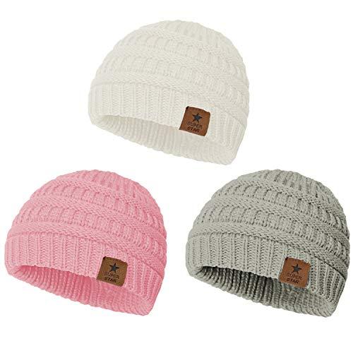Zando Baby Beanies for Girls Winter Caps Warm Infant Toddler Children's Beanie Knit Hats White,Grey,Pink One Size