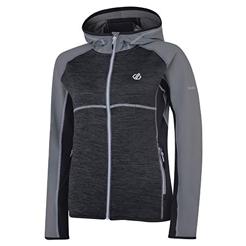 Dare 2b Damen Courteous Core Stretch Lightweight Quick Drying Full Zip Hooded Fleece Dehnbare Mittelschicht, Grau (Wolkengrau/Anthrazit), 10