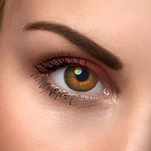 """2x Farbige Kontaktlinsen\""""Haselnuss Braun\"""" - 2x hazelnut braune Kontaktlinsen ohne Stärke + gratis Kontaktlinsenbehälter"""