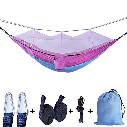 OH Hamocks Swing Showing Single Double Camping Hamg Mock Lightweight Portable Portable Nylon Haa para Acampar para Viajes de Senderismo Fácil de limpiar/Rosado