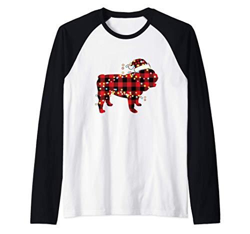 English Bulldog Christmas Red Plaid Buffalo Pajamas Xmas Raglan Baseball Tee