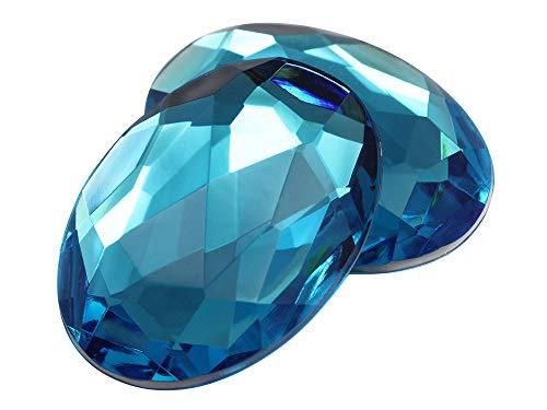 40x30mm Blue Aqua H109 Large Flat Back Oval Acrylic Rhinestones Cosplay Costume Gems Plastic Jewels Embelishments DIY Crafts Gemstones - 4 Pieces