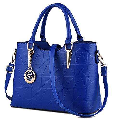 JHVYF Casual Top Handle Handbag Purse Tote Pu Leather Shoulder Bags Women #U sapphire blue
