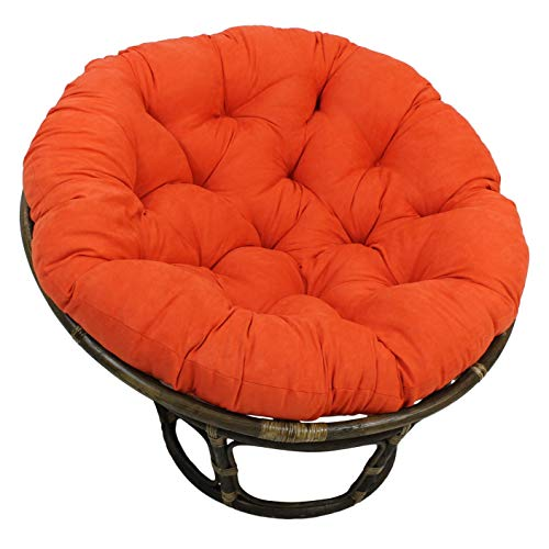 MISC 52 Inch Tangerine Orange Papasan Cushion Only Rounded Tufted Oversized Chair Pad Floor Pillow Use Plush Indoor Thick Comfy Solid Color, Microsuede Polyester