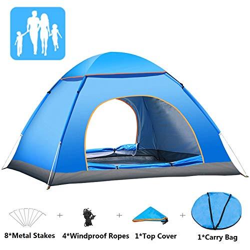 Yuanj Pop up Zelt, 3-4 Personen Ultraleichte Camping Zelt, Outdoor/Beach Wurfzelt mit Tragetasche für Trekking, Camping