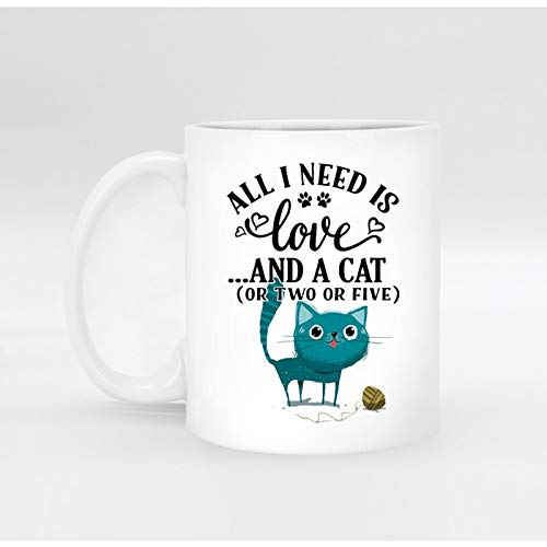 Gold Happy Custom Funny Novelty Porcelain White Coffee Mug Tea Milk Cup Mugs for Birthday All i Need is a cat
