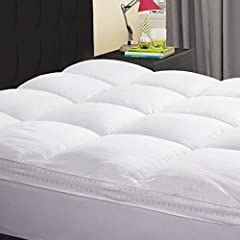 EXTRA THICK & ULTRA SOFT: 50% THICKER than normal mattress pad. Overfilled with ultra-plush snow down alternative fill, this mattress topper offers the time-tested comfort of tradition down. It provides extra plush padding and support for your should...