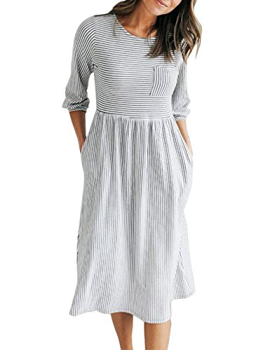 MEROKEETY Women's 3/4 Balloon Sleeve Striped High Waist T Shirt Midi Dress with Pockets