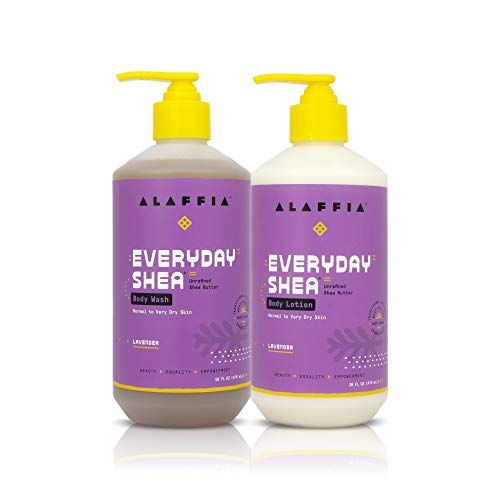 Alaffia - EveryDay Shea Lavender Body Wash and Lotion Set Cruelty Free, for Normal to Very Dry Skin