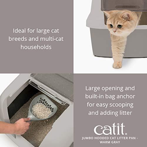 Catit Jumbo Hooded Cat Litter Pan - Warm Gray