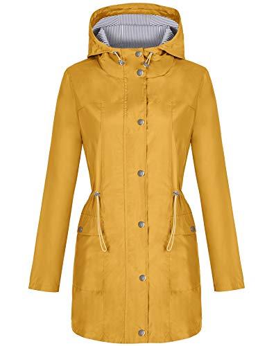 Waterproof Jackets for Women Yellow Raincoat Lightweigh Windbreaker Outdoor Jacket Striped Lined Hiking Trench Coat Yellow Xxl