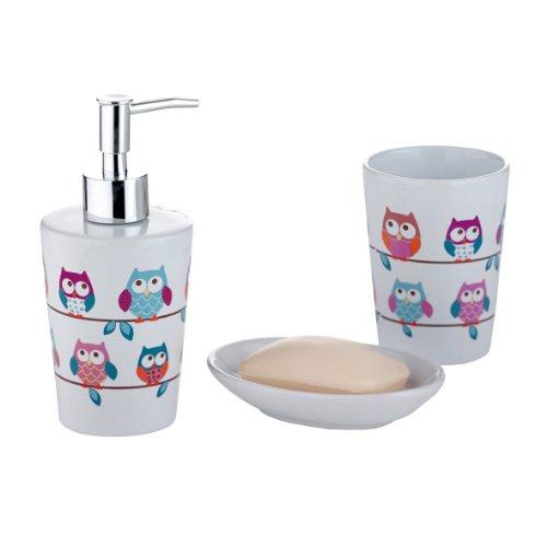 axentia Bad-Garnitur Eule, dreiteilig, Keramik, Bad-Set bestehen aus Seifenspender, Seifenschale und Zahnputzbecher, mit trendigem Eulendekor, Hingucker im Badezimmer oder WC